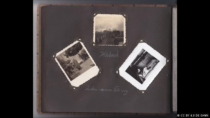 Página escura de livro com três fotos