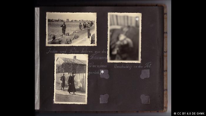 Página de álbum de fotos com três fotos e legendas
