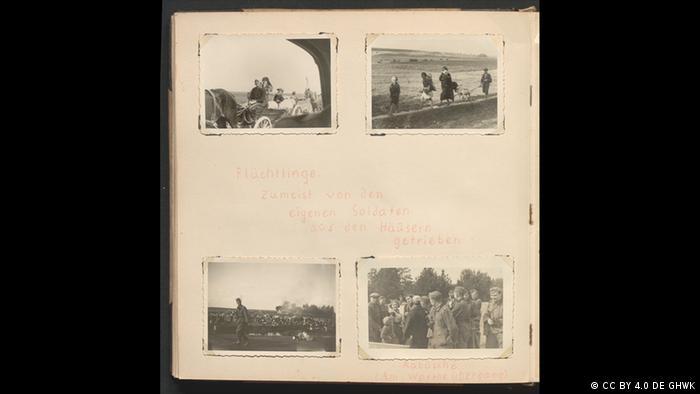 Página de livro com quatro fotos