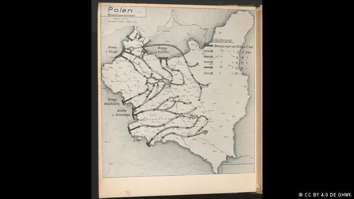 Mapa da Polônia com várias setas indicando roteiros