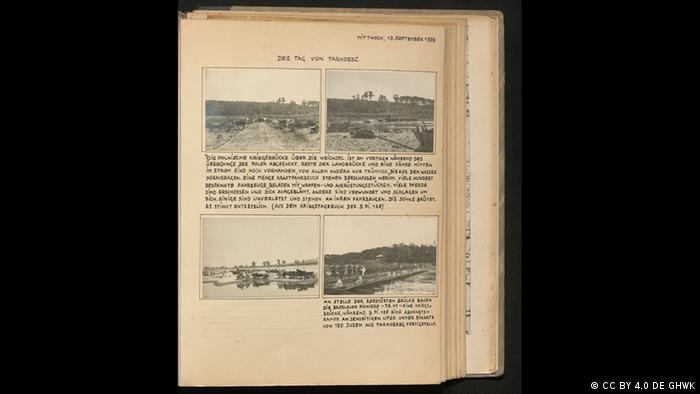 Página de livro com quatro fotos e longas legendas