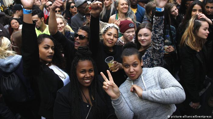 Multiracial crowd at street party in Berlin-Kreuzberg (pre-COVID times)