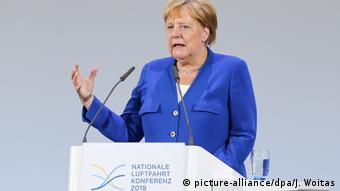 German Chancellor Angela Merkel at the National Aviation Conference in Leipzig