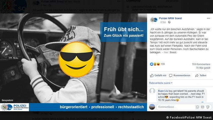 Screenshot of German police Facebook post