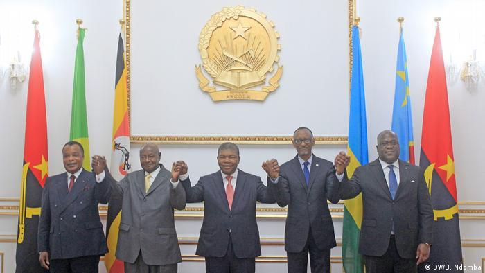 Die Präsidenten der Republik Kongo, Denis Sassou Nguesso aus Uganda, Yoweri Museveni aus Angola João Lourenço aus Ruanda, Paul Kagamé aus der Demokratischen Republik Kongo, Félix Tshissekedi und Denis Sassou Nguesso aus der Republik Kongo