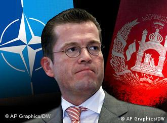 German defense minister in front of the NATO and Afghan flags