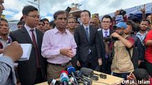 Repräsentanten aus Bangladesch China und Myanmar bei einer Pressekonferenz in Teknaf