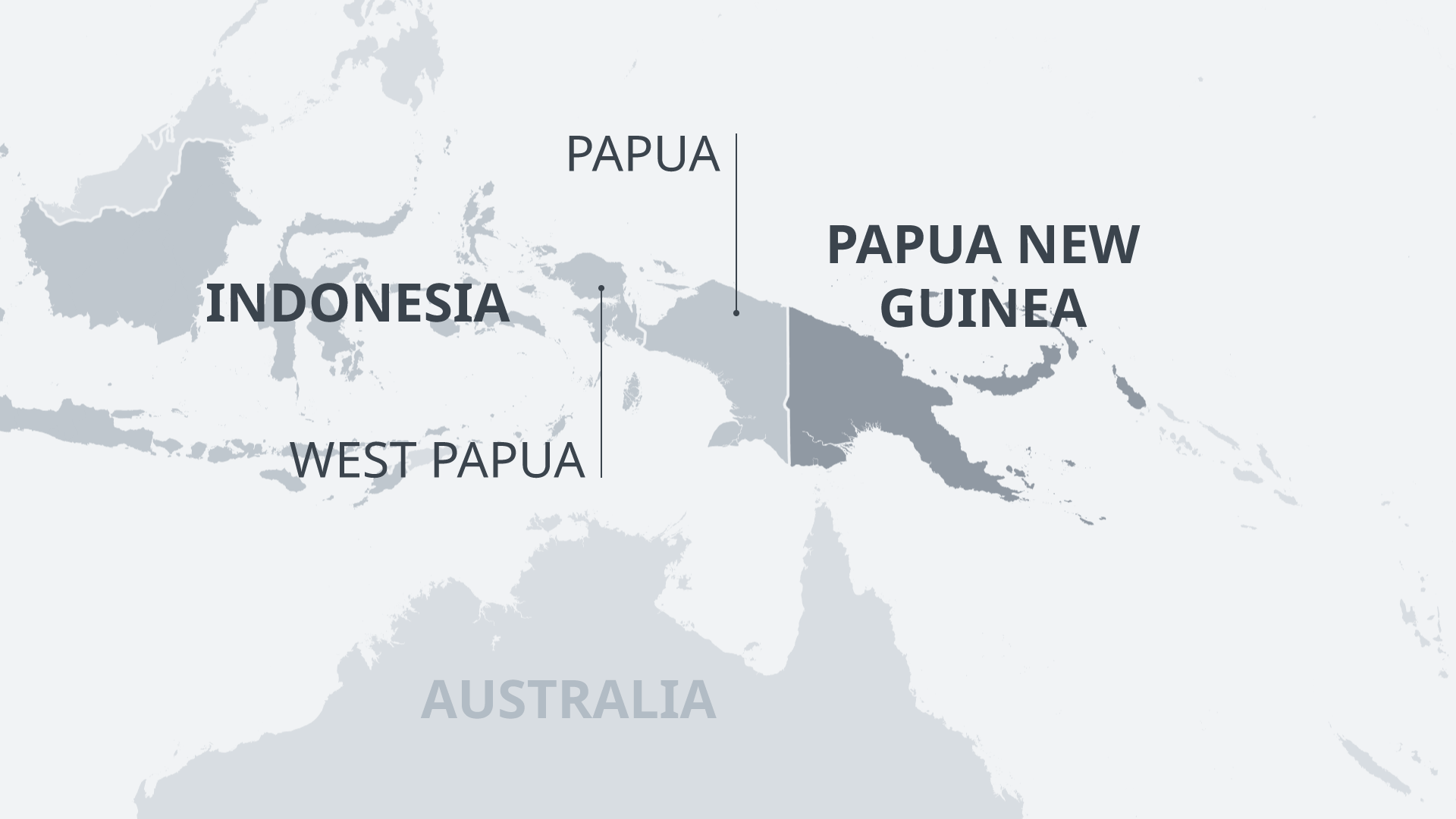 New Guinea map with Indonesia