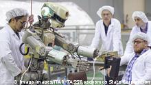 28.07.2019 BAIKONUR, KAZAKHSTAN - JULY 28, 2019: Humanoid robot Fyodor prepares for the Soyuz MS-14 orbital flight to the International Space Station aboard a Soyuz-2.1a rocket carrier. Roscosmos State Corporation/TASS PUBLICATIONxINxGERxAUTxONLY TS0B7523
