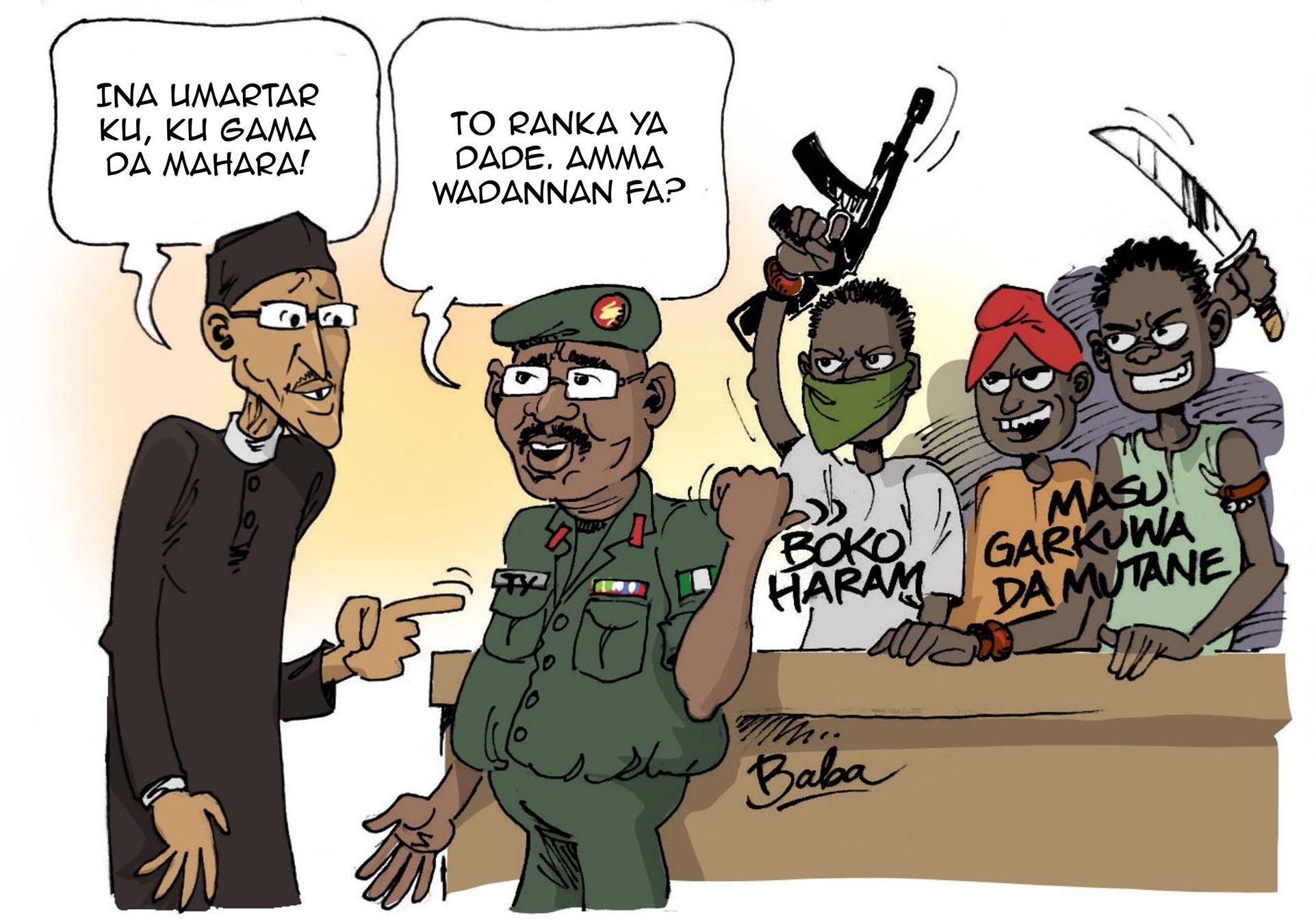 Karrikatur Nigeria Sicherheit
