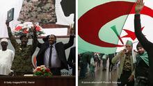 Kombobild - Sudan | Machtabgabe Militär - Algerien | Freitagsdemo