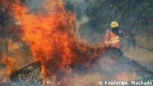 A firefighter attempts to extinguish flames during the dry season in Brasilia, Brazil