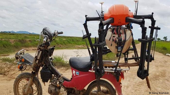 A drone mounted on a motorcycle. (Heng Sopheak)