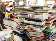 A stack of  books at the Frankfurt Book Fair