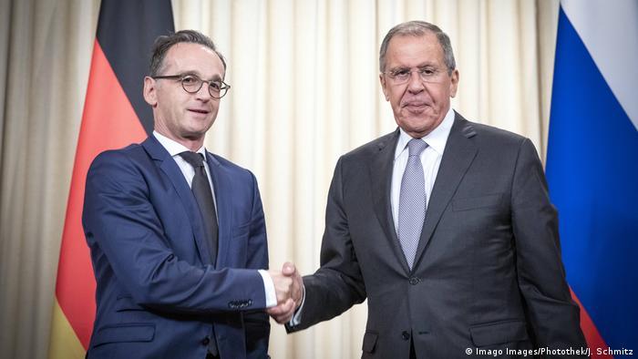 صورة من لقاء جمع وزير خارجية روسيا سيرغي لافروف ووزير خارجية ألمانيا هايكو ماس في موسكو (21/08/2019)