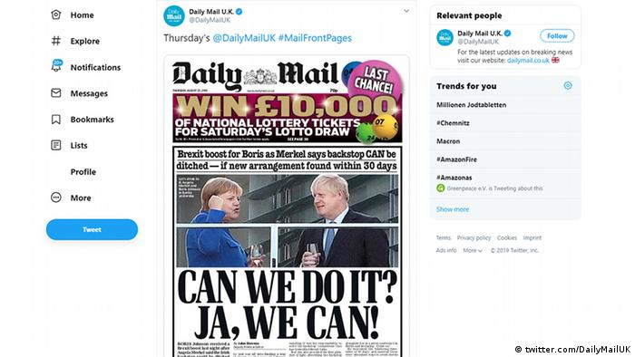 Screenshot Twitter Daily Mail | Angela Merkel & Boris Johnson (twitter.com/DailyMailUK)