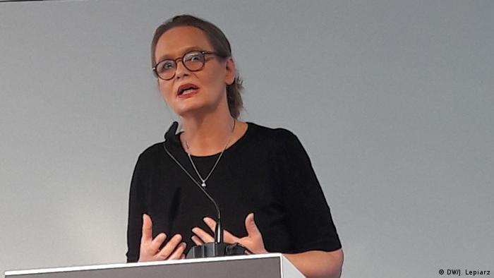 Claudia Weber z Uniwersytetu Viadrina podczas konferencji w Topografii Terroru 22.08.2019