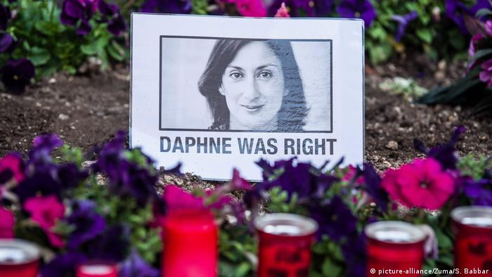 A memorial features the murdered journalist with the words 'Daphne was right'