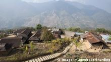 Recently constructed concrete steps to ease access between higher and lower sections of village on steep Naga hillside, Nagaland, India, Asia PUBLICATIONxINxGERxSUIxAUTxONLY Copyright: AnniexOwen 805-1071