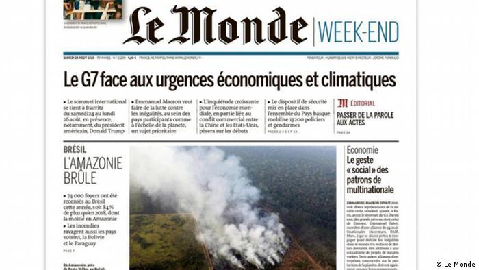 Capa do Le Monde com foto de queimada na Amazônia