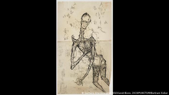 Drawing by Gerhard Altenbourg. Drawing of a human figure in the water (Gerhard Altenbourg/VG Bild-Kunst Bonn, 2019/PUNCTUM/Bertram Kober)