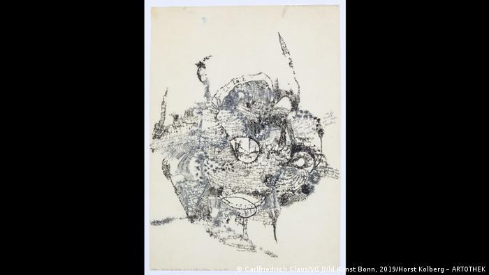 Artwork by Carl Friedrich Claus, Beginn eines Briefs an Prof. Will Grohmann black and white drawing (Carlfriedrich Claus/VG Bild-Kunst Bonn, 2019/Horst Kolberg – ARTOTHEK)