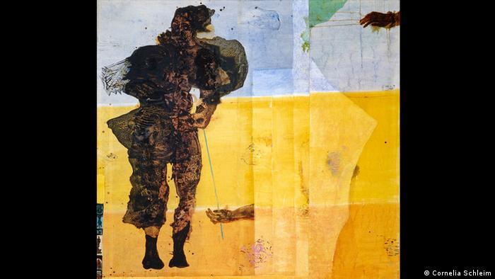 Artwork by Cornelia Schleime, a photograph of a person that has been painted over partially with broad yellow strokes . Eine übermalte Fotografie von (Cornelia Schleim)