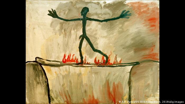 Painting by A.R. Penck. a strick-fugure walks across a burning bridge (A.R. Penck/VG Bild-Kunst Bonn, 2019/akg-images)