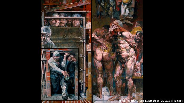 Painting by Willi Sitte.Naked and dressed men after their shift (Willi Sitte/VG Bild-Kunst Bonn, 2019/akg-images)