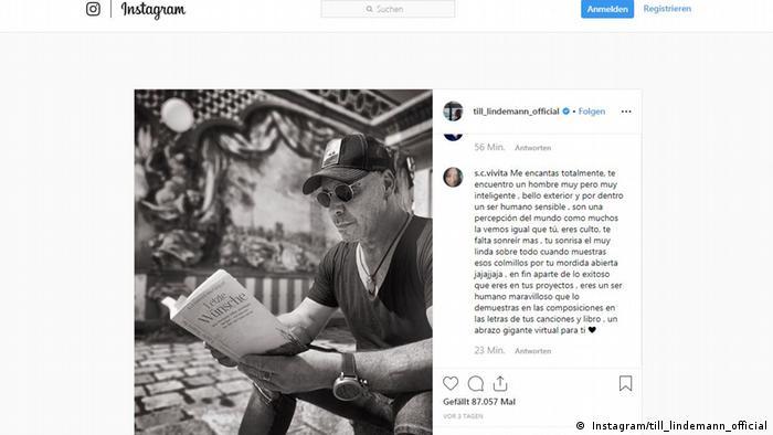 till_lindemann on Instagram reading a book