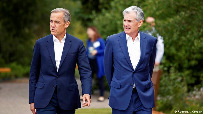 USA Wyoming | Jerome Powell und Mark Carney während der dreitägigen Challenges for Monetary Policy Konferenz (Reuters/J. Crosby)