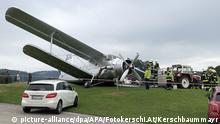 Crashed biplane in Austria