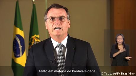 Screenshot Jair Bolsonaro TV Ansprache Screenshot Youtube Amazonas (Youtube/TV BrasilGov )
