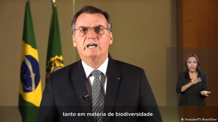 Screenshot Jair Bolsonaro TV Ansprache Screenshot Youtube Amazonas (Youtube/TV BrasilGov )
