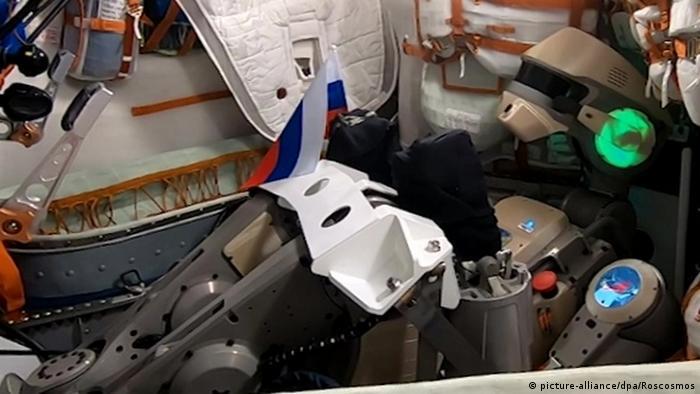 Russian robot Fedor in his capsule
