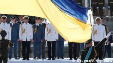 Ukrainian servicemen attend a ceremony to celebrate Ukraine's Independence Day, in Kiev, Ukraine August 24, 2019. REUTERS/Valentyn Ogirenko