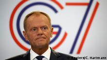 European Council President Donald Tusk speaks during a news conference on the margins of the G7 summit in Biarritz, France