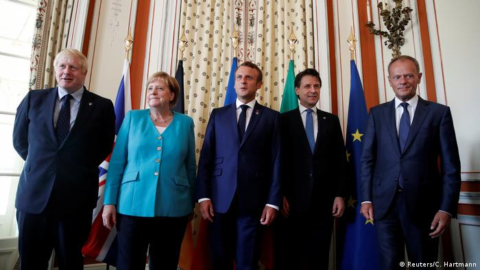 A partir da esquerda: primeiro-ministro britânico, Boris Johnson, chanceler alemã, Angela Merkel, Presidente francês, Emmanuel Macron, primeiro-ministro italiano, Giuseppe Conte e presidente do Conselho Europeu, Donald Tusk