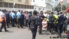 24/08/2019 – Luanda, Angola Hundreds of young people march again against unemployment Protest of young Angolans in the streets of Luanda. Near the presidential palace, police intervened and prevented demonstration.