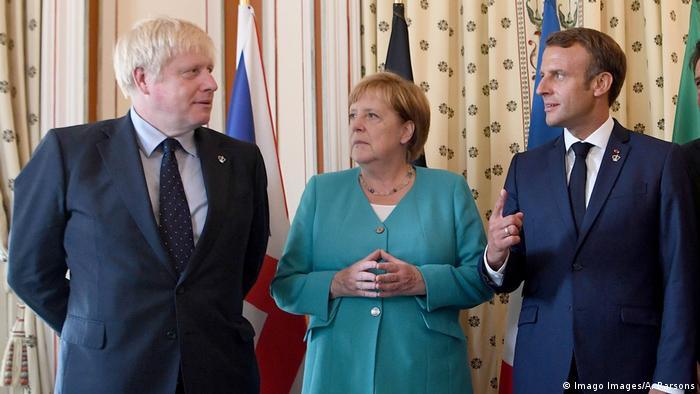 Os líderes Boris Johnson (Reino Unido), Angela Merkel (Alemanha) e Emmanuel Macron (França)