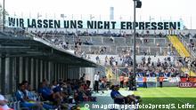 Chemnitzer Fans mit Spruchband WIR LASEN UNS NICHT ERPRESEN! Fans, Publikum, Zuschauer, Stimmung, Atmosphäre, Stadion, 24.08.2019, München (Deutschland), Fussball, Dritte Liga, FC Bayern München II - Chemnitzer FC, DFB/DFL REGULATIONS PROHIBIT ANY USE OF PHOTOGRAPHS AS IMAGE SEQUENCES AND/OR QUASI-VIDEO. *** Chemnitzer Fans with banner WIR LASEN UNS NICHT ERPRESEN Fans, audience, spectators, mood, atmosphere, stadium, 24 08 2019, Munich Germany , football, third league, FC Bayern Munich II Chemnitzer FC, DFB DFL REGULATIONS PROHIBIT ANY USE OF PHOTOGRAPHS AS IMAGE SEQUENCES AND OR QUASI VIDEO xslx