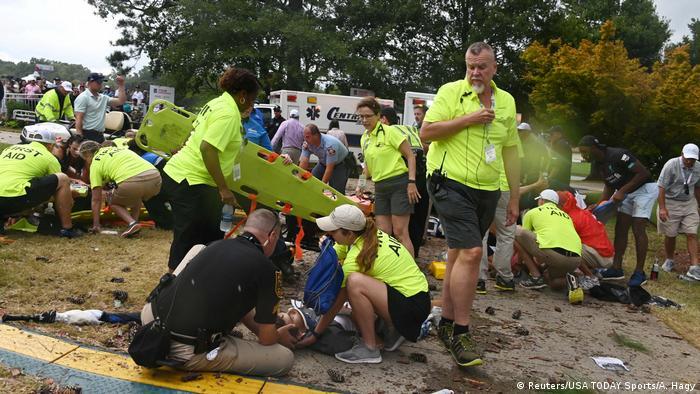 Paramedics attend to injured spectators
