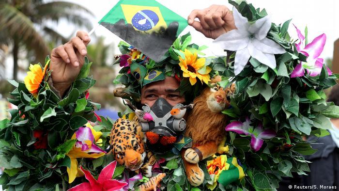 Brazilian protestors in Rio de Janeiro demand more protection for the Amazon