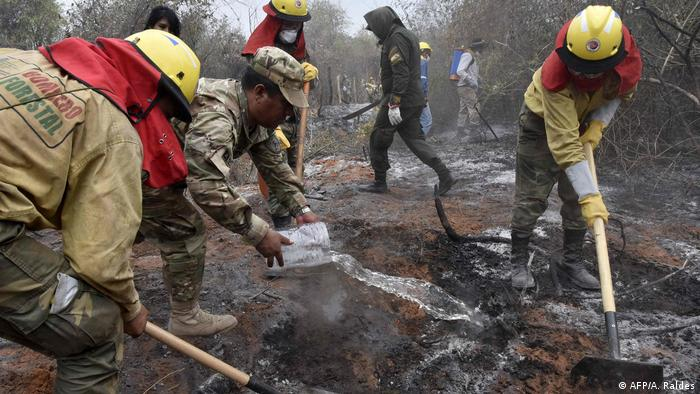 Firefighters and volunteers work to put out a fire in Bolivia.