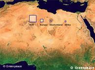 Representação da área necessária para que plantas solares abasteçam o mundo, a Europa, a Alemanha ou o continente africano