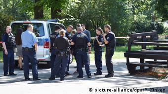 Берлинская полиция на месте убийства Зелимхана Хангошвили