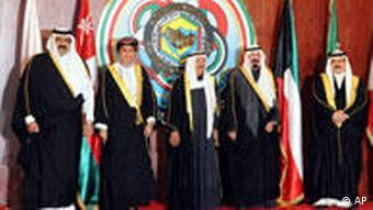 Leaders of the six GCC (Gulf Cooperation Council) countries pose for a portrait before starting the 30th summit of the organization in Bayan Palace, Kuwait City on Monday, Dec. 14, 2009. From left ro right: Kuwait's Crown Prince Sheikh Nawaf Al Ahmad Al Sabah, Emir of Qatar, Sheikh Hamad bin Khalifa Al Thani, representative of the Sultan Qaboos of Oman, Deputy Premier for Cabinet Affairs, Fahad bin Mahmoud Al Saeed, Kuwait, Amir Sheikh Sabah Al AHmed Al Jaber Al Sabah, Saudi Arabia King Abdullah bin Abdul Aziz Al Saud, Bahrein Sheikh Khalifa bin Salman Al Khalifa, and UAE, president, Sheikh Khalifa bin Zayed Al Nuhayyan.