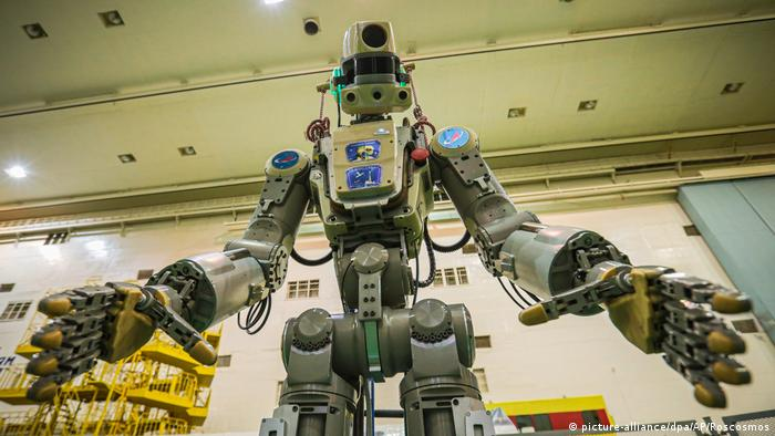Fedor, Russia's life-size humanoid robot, prior to being sent to the International Space Station