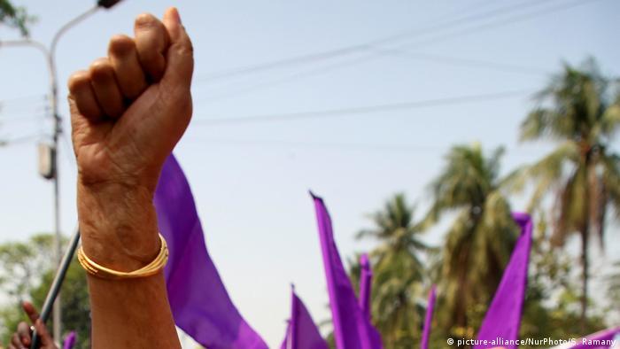 Bangladeshi women take part in a rally to mark International Women's Day in Dhaka