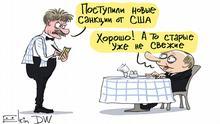 Sergey Elkin, Karikatur, Russland, USA, US-Sanktionen Bildbeschreibung: Karikatur - Dmitri Peskow (Pressesprecher des russischen Präsidenten Wladimir Putin) kommt als Ober in einem Restaurant zu Wladimir Putim, der an einem Tisch sitzt und bestellen will. Peskow: Neue US-Sanktionen sind eingetroffen, Putin: Gut! Die alten sind nicht mehr so frisch.